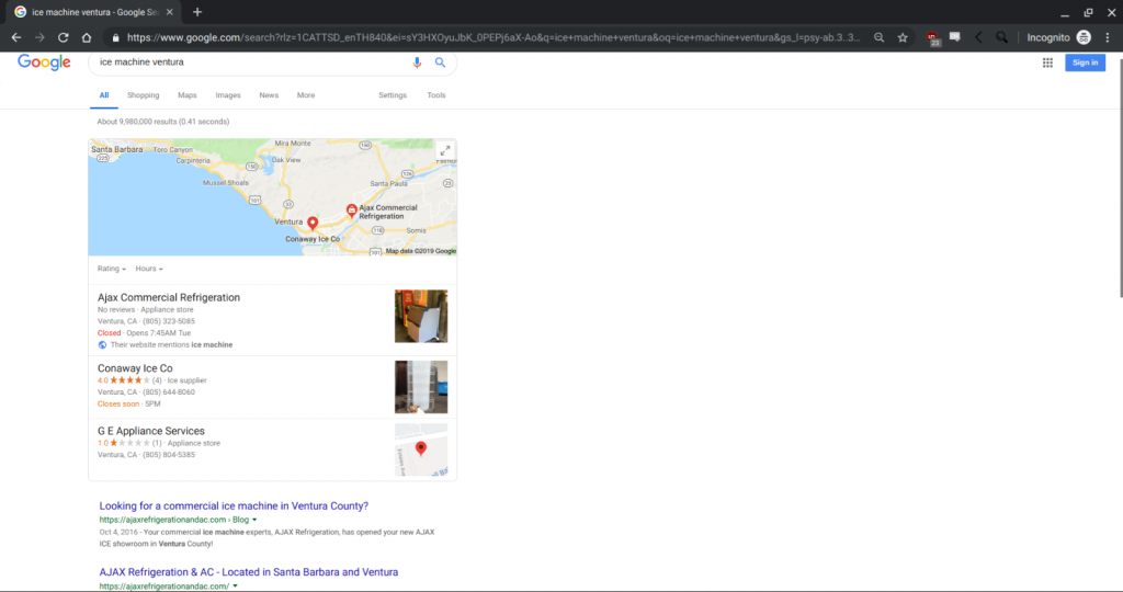 """Google search result page for """"ice machine ventura"""" showing Ajax Refrigeration and AC as the top result."""